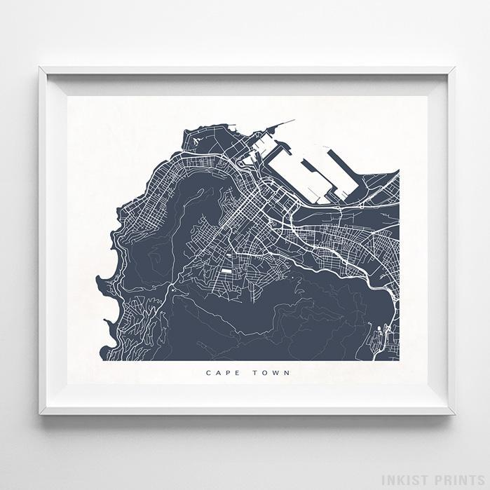 Cape Town, South Africa Street Map Horizontal Print-Poster-Wall_Art-Home_Decor-Inkist_Prints