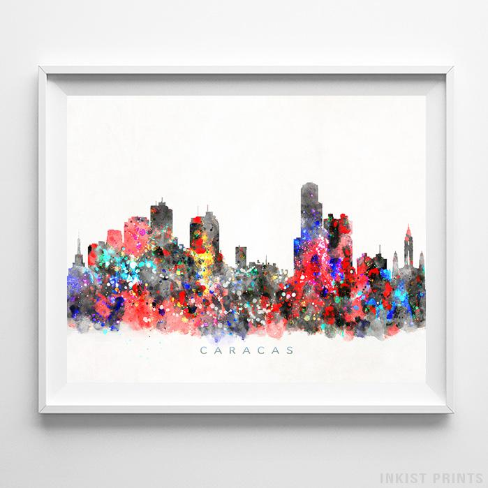Caracas, Venezuela Skyline Watercolor Print-Poster-Wall_Art-Home_Decor-Inkist_Prints