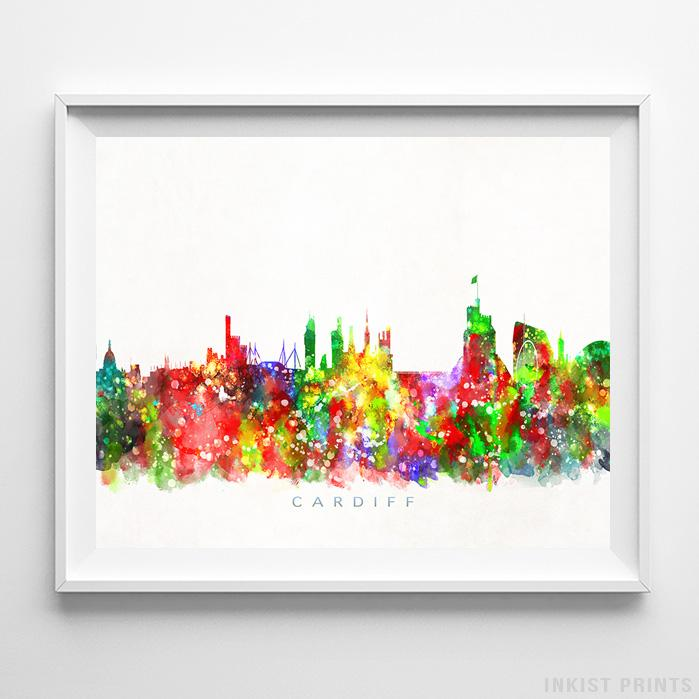 Cardiff, Capital of Wales Skyline Watercolor Print - Inkist Prints