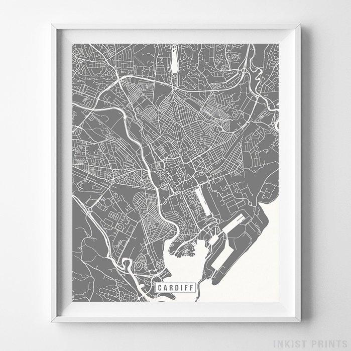 Cardiff, England Street Map Vertical Print-Poster-Wall_Art-Home_Decor-Inkist_Prints
