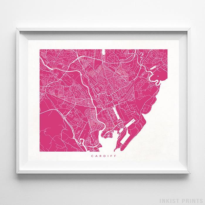 Cardiff, United Kingdom Street Map Horizontal Print-Poster-Wall_Art-Home_Decor-Inkist_Prints