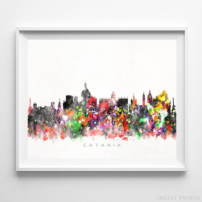 Catania, Italy Skyline Watercolor Print-Poster-Wall_Art-Home_Decor-Inkist_Prints