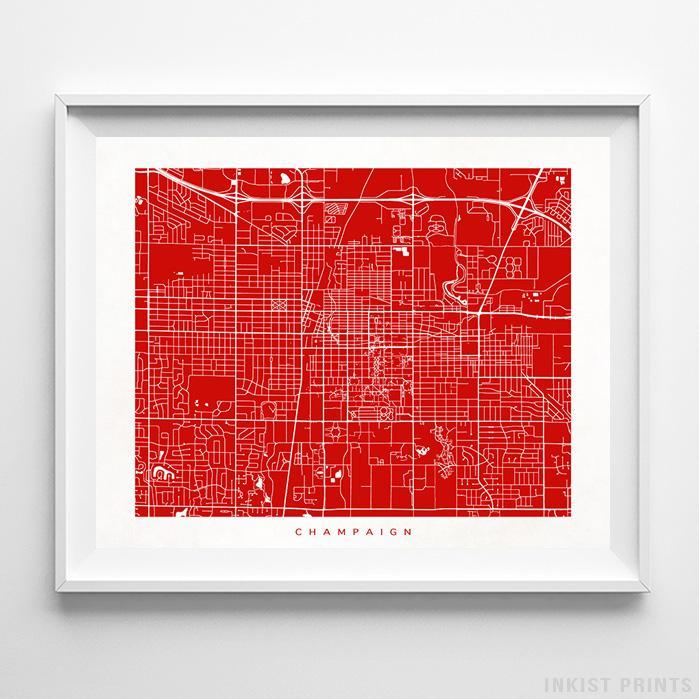 Champaign, Illinois Street Map Horizontal Print-Poster-Wall_Art-Home_Decor-Inkist_Prints