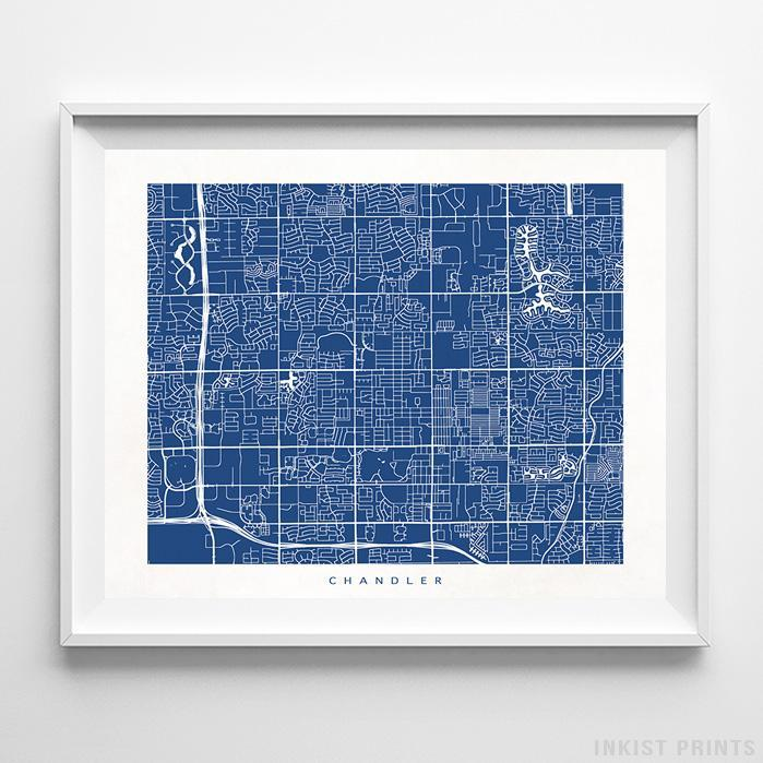 Chandler, Arizona Street Map Horizontal Print-Poster-Wall_Art-Home_Decor-Inkist_Prints