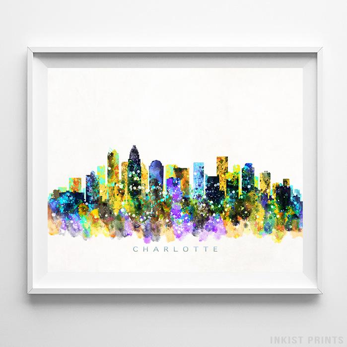 Charlotte, North Carolina Skyline Watercolor Print - Inkist Prints