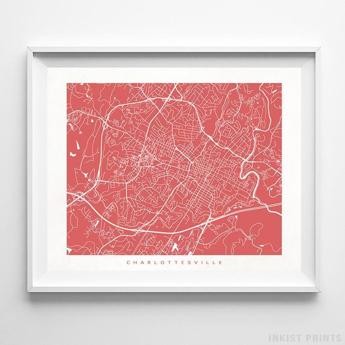 Charlottesville, Virginia Street Map Horizontal Print-Poster-Wall_Art-Home_Decor-Inkist_Prints