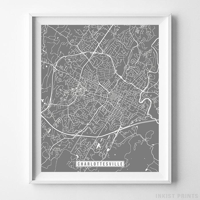 Charlottesville, Virginia Street Map Vertical Print-Poster-Wall_Art-Home_Decor-Inkist_Prints
