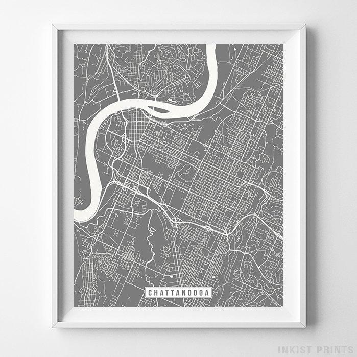 Chattanooga, Tennessee Street Map Vertical Print-Poster-Wall_Art-Home_Decor-Inkist_Prints