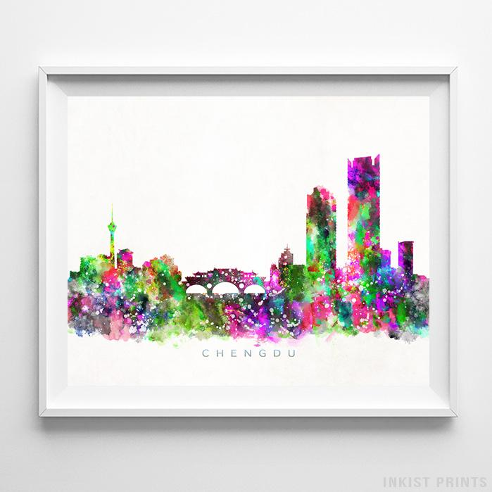 Chengdu, China Skyline Watercolor Print-Poster-Wall_Art-Home_Decor-Inkist_Prints