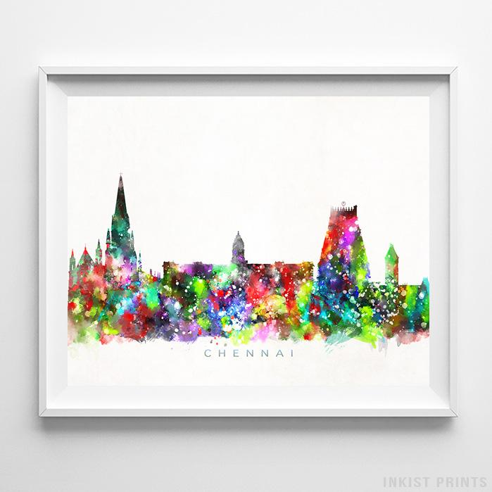 Chennai, India Skyline Watercolor Print-Poster-Wall_Art-Home_Decor-Inkist_Prints
