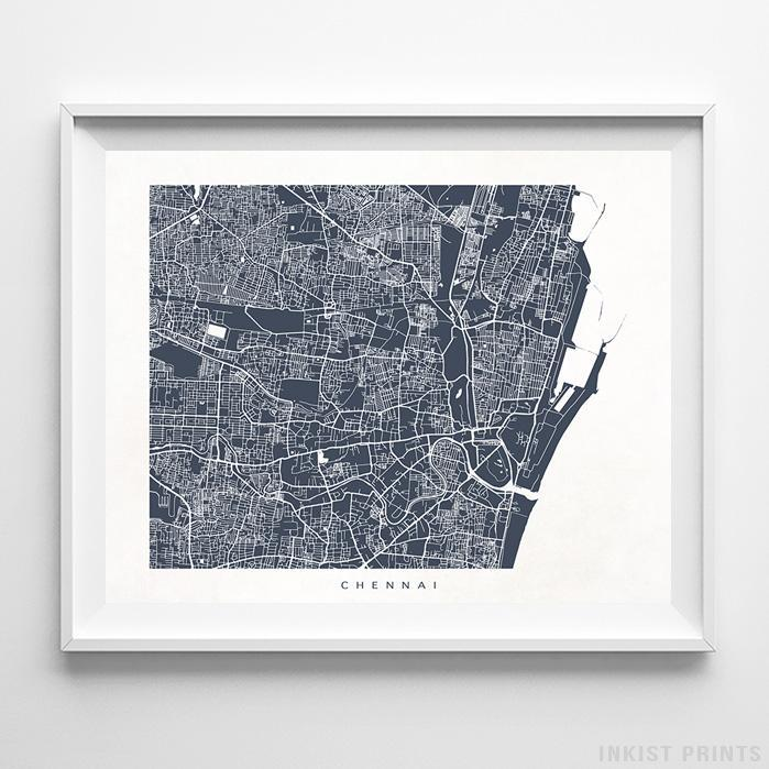 Chennai, India Street Map Print Poster - Inkist Prints