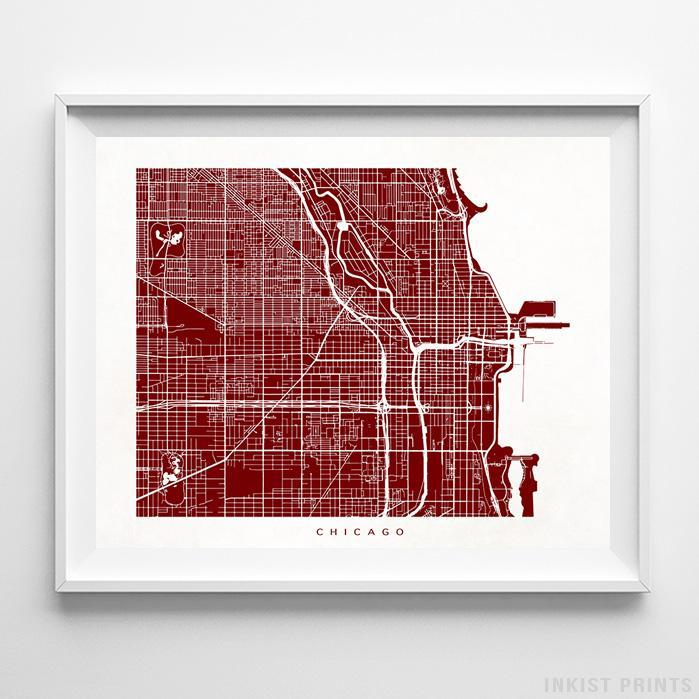 Chicago, Illinois Street Map Horizontal Print-Poster-Wall_Art-Home_Decor-Inkist_Prints