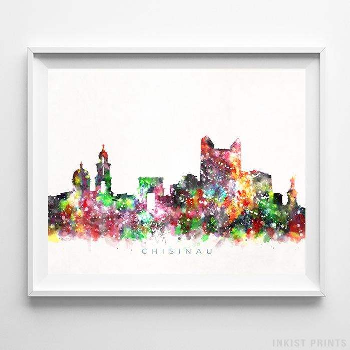 Chisinau, Moldova Skyline Watercolor Print-Poster-Wall_Art-Home_Decor-Inkist_Prints