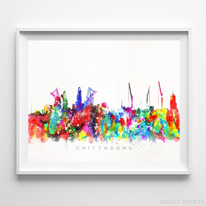 Chittagong, Bangladesh Skyline Watercolor Print-Poster-Wall_Art-Home_Decor-Inkist_Prints