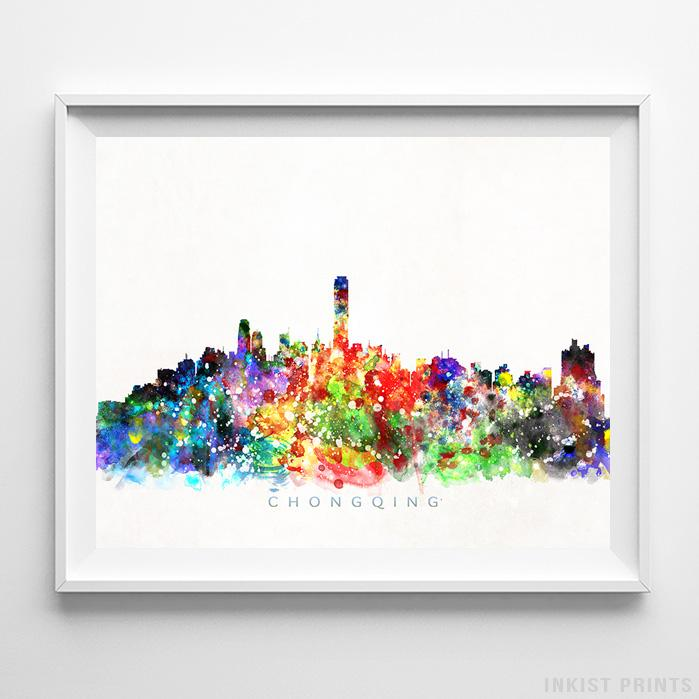 Chongqing, China Skyline Watercolor Print-Poster-Wall_Art-Home_Decor-Inkist_Prints