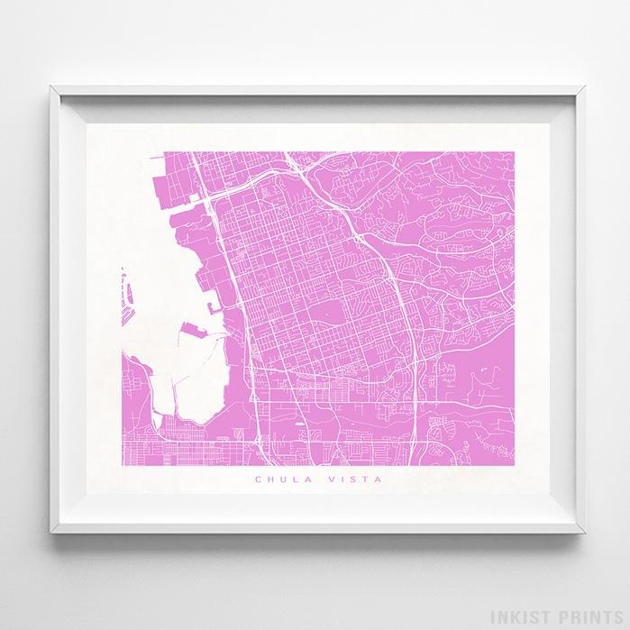 Chula Vista, California Street Map Print - Inkist Prints