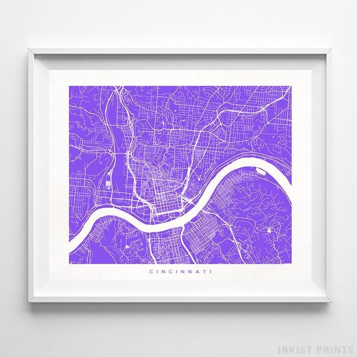 Cincinnati, Ohio Street Map Print Poster - Inkist Prints