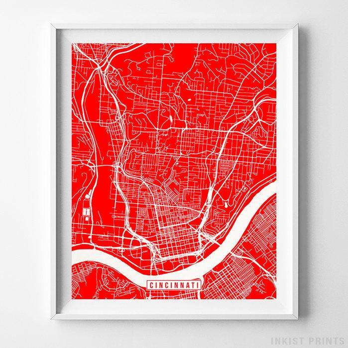Cincinnati, Ohio Street Map Vertical Print-Poster-Wall_Art-Home_Decor-Inkist_Prints