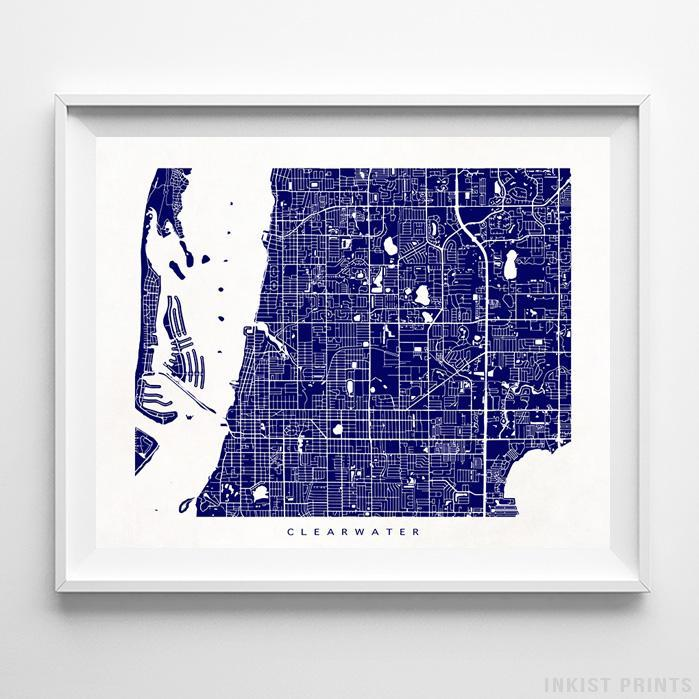 Map Of Florida Clearwater.Clearwater Florida Street Map Print Wall Poster Inkist Prints