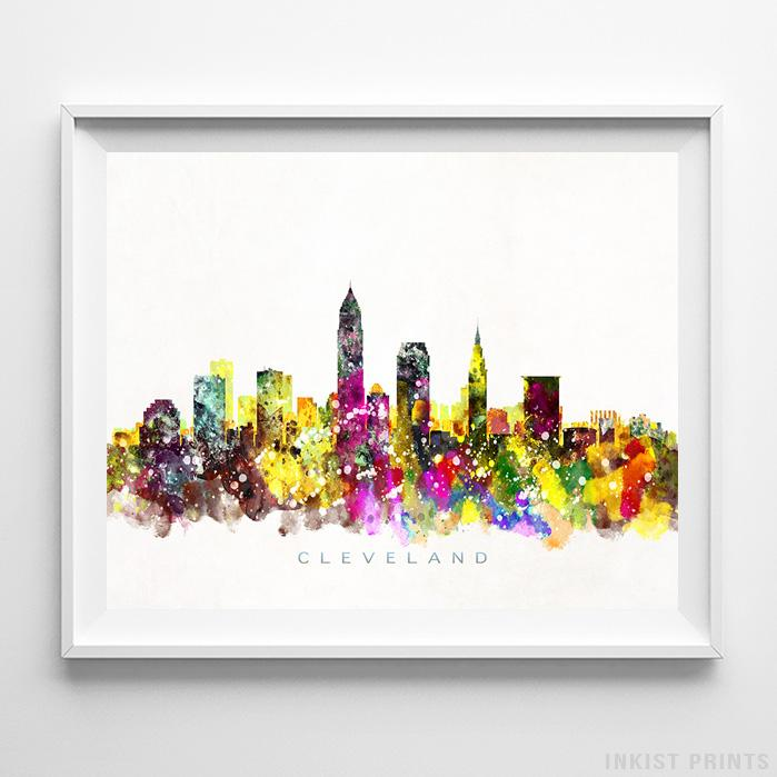 Cleveland, Ohio Skyline Watercolor Print - Inkist Prints