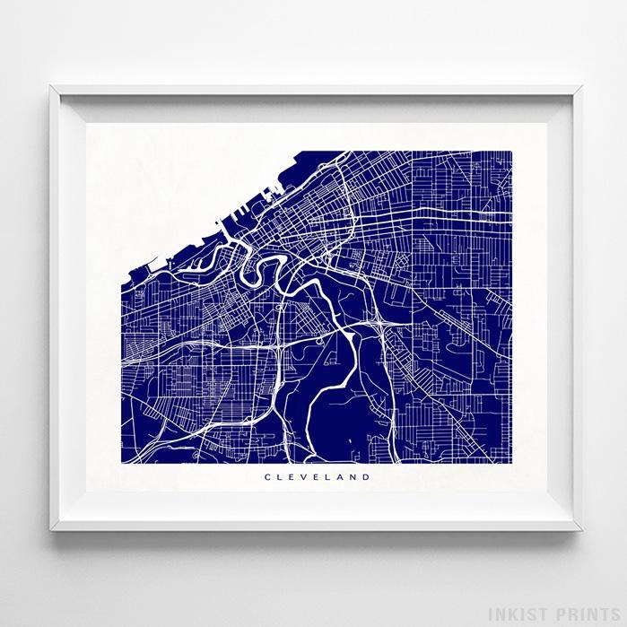 Cleveland, Ohio Street Map Horizontal Print-Poster-Wall_Art-Home_Decor-Inkist_Prints