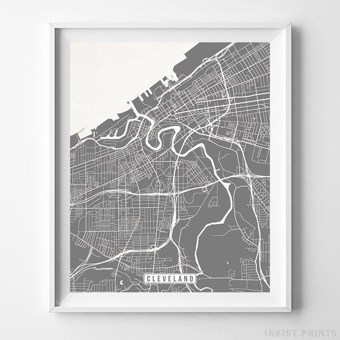 Cleveland, Ohio Street Map Vertical Print-Poster-Wall_Art-Home_Decor-Inkist_Prints