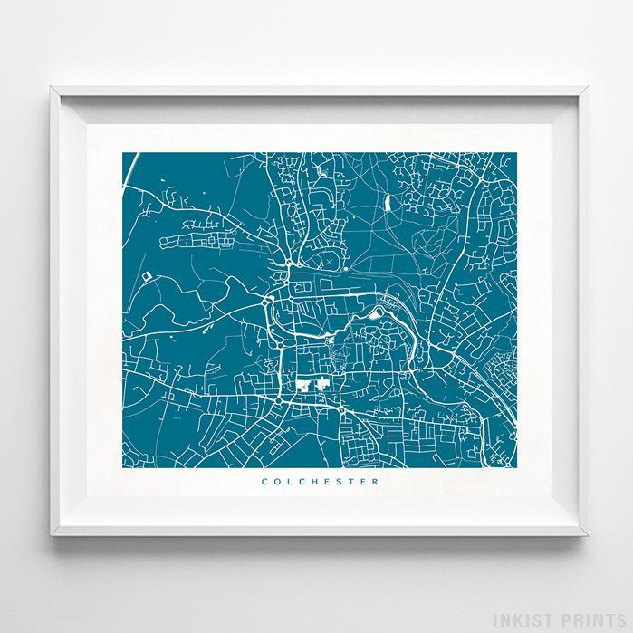 Colchester, England Street Map Horizontal Print-Poster-Wall_Art-Home_Decor-Inkist_Prints