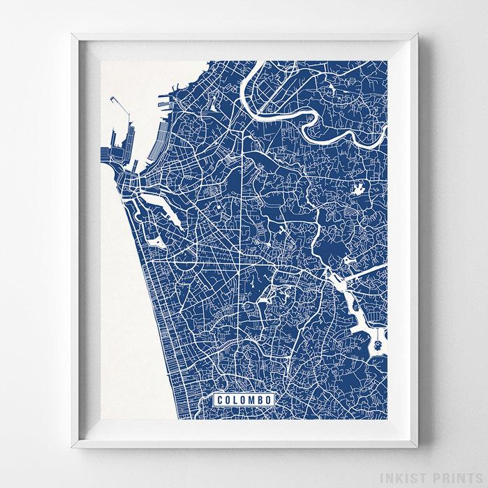 Colombo, Sri Lanka Street Map Vertical Print-Poster-Wall_Art-Home_Decor-Inkist_Prints