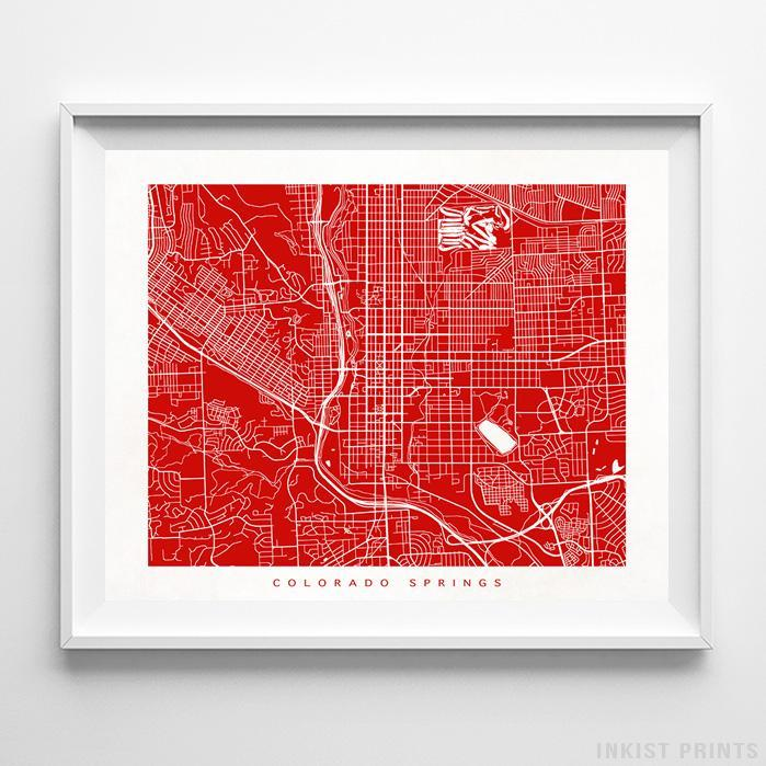 Colorado Springs, Colorado Street Map Horizontal Print-Poster-Wall_Art-Home_Decor-Inkist_Prints
