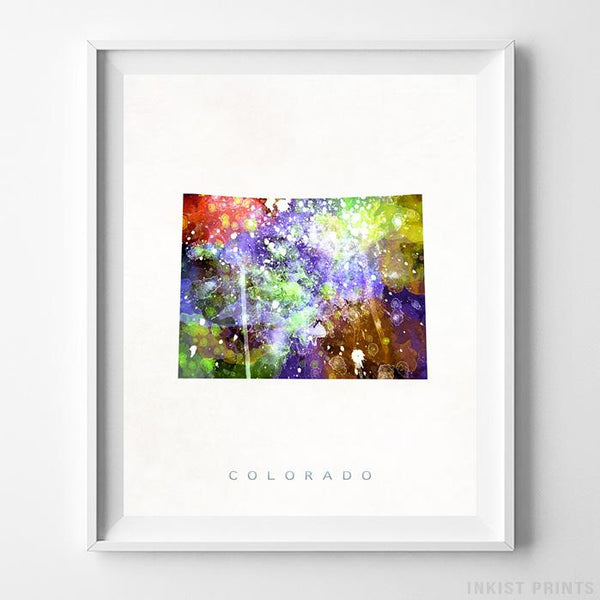 Colorado Watercolor Map Print - Inkist Prints