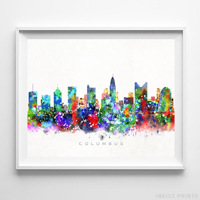 Columbus, Ohio Skyline Watercolor Print - Inkist Prints