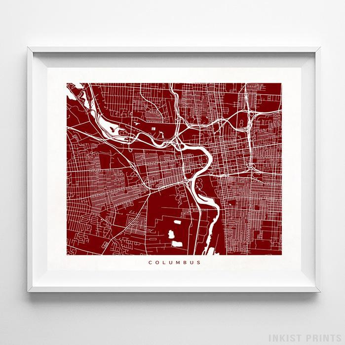 Columbus, Ohio Street Map Horizontal Print-Poster-Wall_Art-Home_Decor-Inkist_Prints