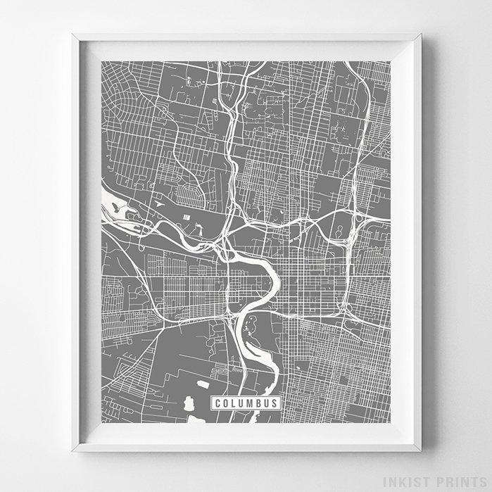 Columbus, Ohio Street Map Vertical Print-Poster-Wall_Art-Home_Decor-Inkist_Prints