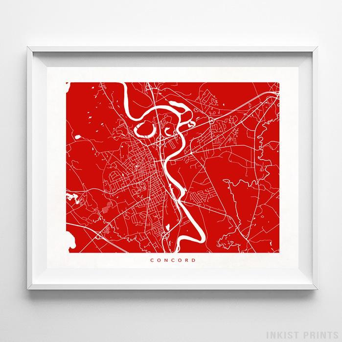 Concord, New Hampshire Street Map Horizontal Print-Poster-Wall_Art-Home_Decor-Inkist_Prints