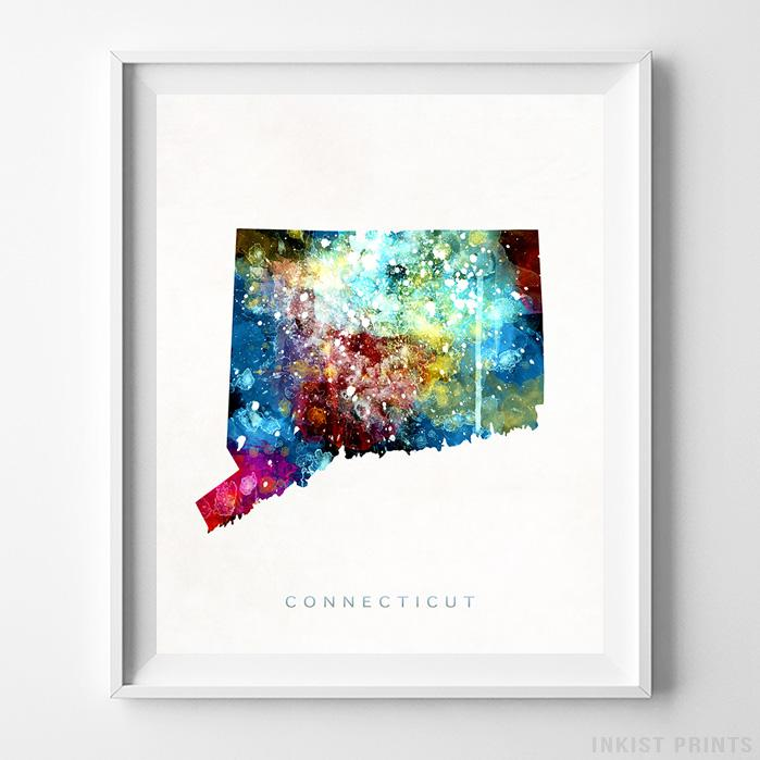 Connecticut Watercolor Map Print-Poster-Wall_Art-Home_Decor-Inkist_Prints
