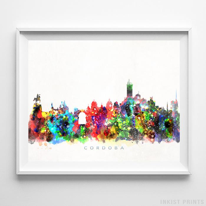 Cordoba, Spain Skyline Watercolor Print Wall Art Poster by Inkist Prints