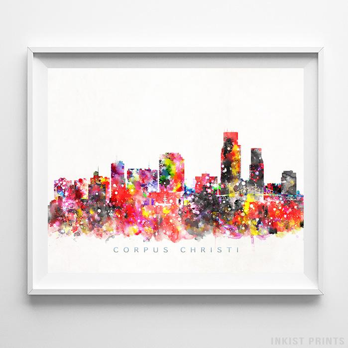Corpus Christi, Texas Skyline Watercolor Print-Poster-Wall_Art-Home_Decor-Inkist_Prints