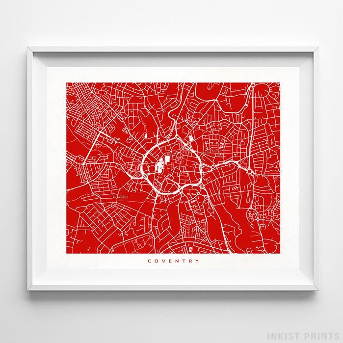 Coventry, England Street Map Horizontal Print-Poster-Wall_Art-Home_Decor-Inkist_Prints
