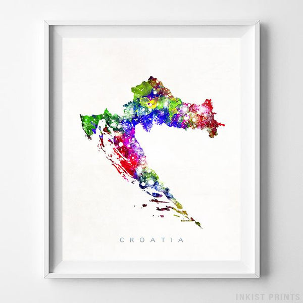 Croatia Watercolor Map Print - Inkist Prints