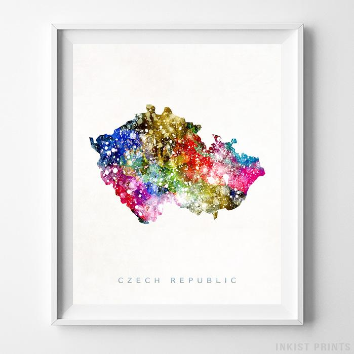 Czech Republic Watercolor Map Print-Poster-Wall_Art-Home_Decor-Inkist_Prints