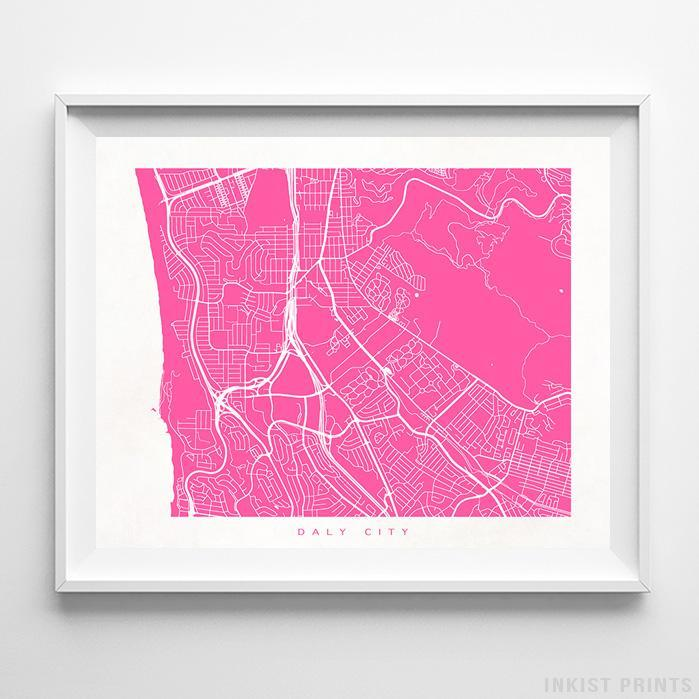 Daly City, California Street Map Horizontal Print-Poster-Wall_Art-Home_Decor-Inkist_Prints