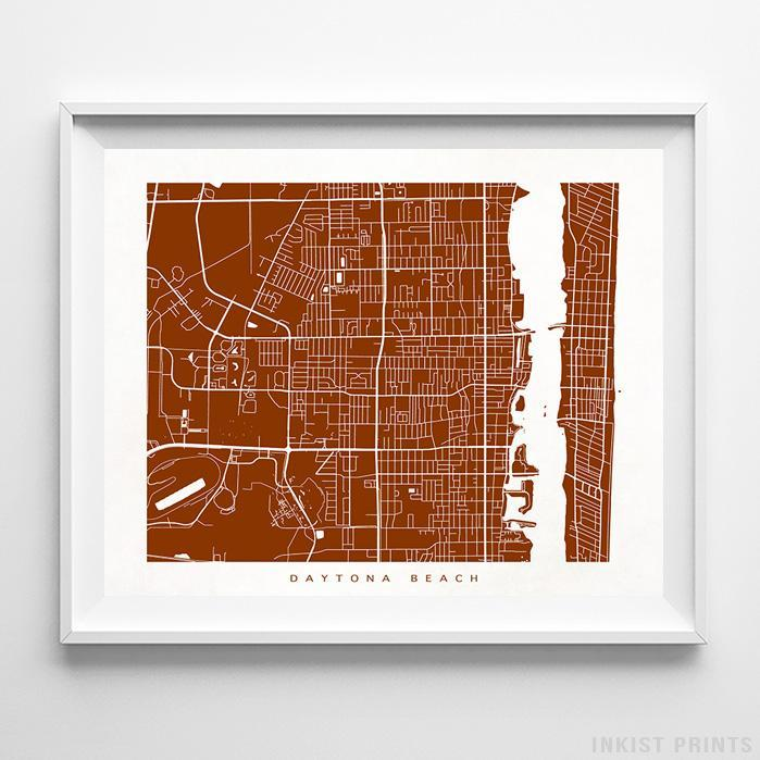 Daytona Beach, Florida Street Map Horizontal Print-Poster-Wall_Art-Home_Decor-Inkist_Prints