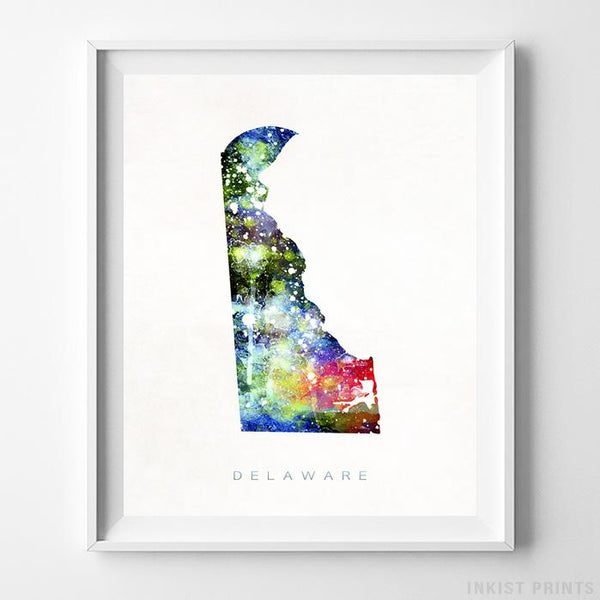Delaware Watercolor Map Print - Inkist Prints