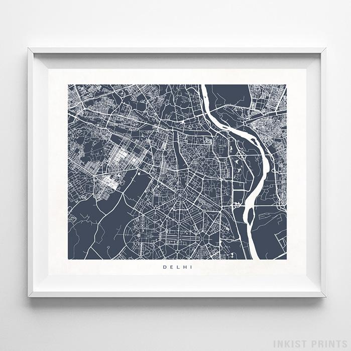 Delhi, India Street Map Print Poster - Inkist Prints