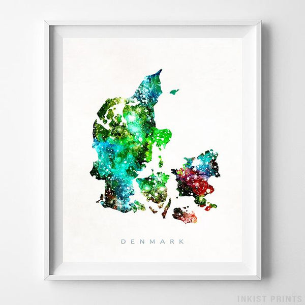 Denmark Watercolor Map Print - Inkist Prints