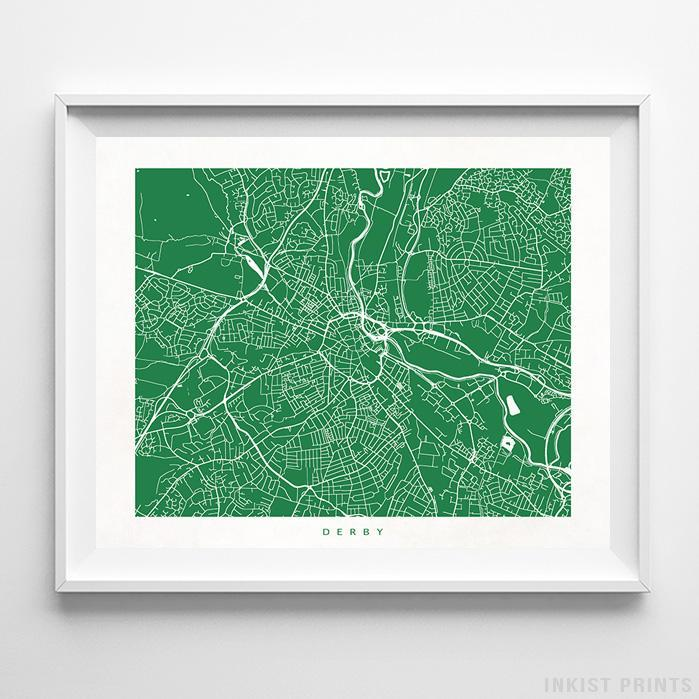 Derby, England Street Map Horizontal Print-Poster-Wall_Art-Home_Decor-Inkist_Prints