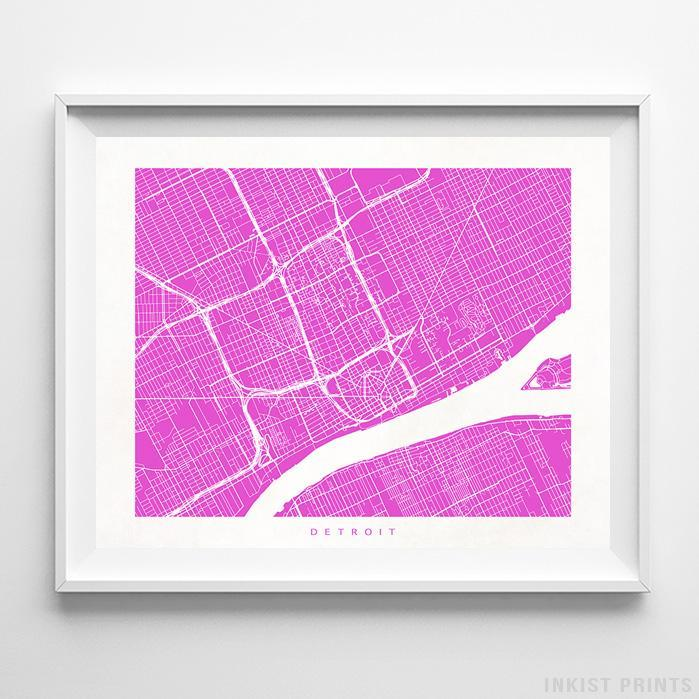 Detroit Michigan Street Map Print - Wall Poster | Inkist Prints