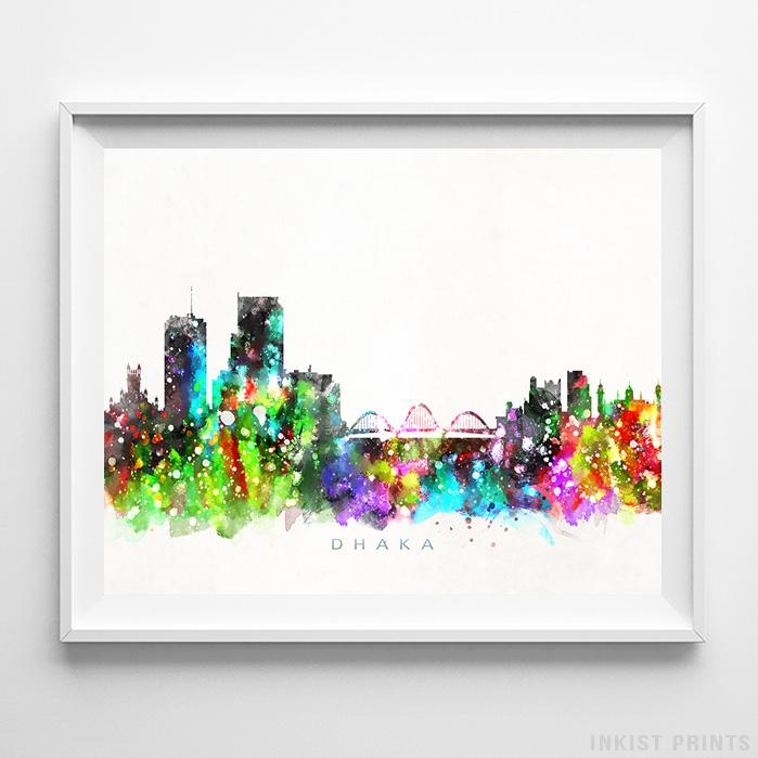 Dhaka, Bangladesh Skyline Watercolor Print - Inkist Prints