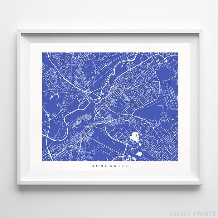 Doncaster, England Street Map Horizontal Print-Poster-Wall_Art-Home_Decor-Inkist_Prints