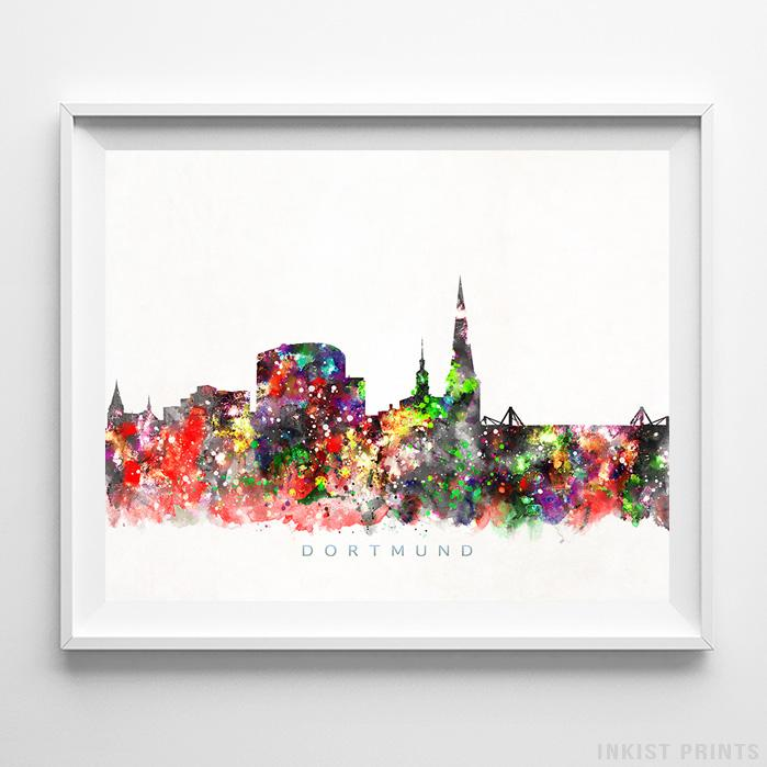 Dortmund, Germany Skyline Watercolor Print-Poster-Wall_Art-Home_Decor-Inkist_Prints
